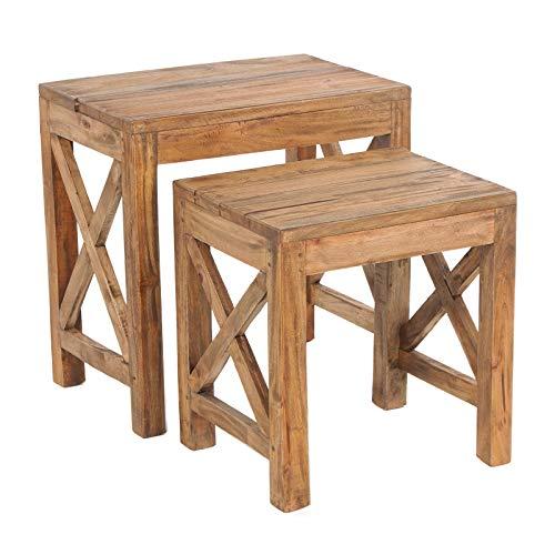 Set van 2 BIJZETTAFELS Flora | massief oud hout, 47/39 x 46/36 x 30/30 cm (HxBxD) | rustieke bloementafel, houten tafel, tafelset