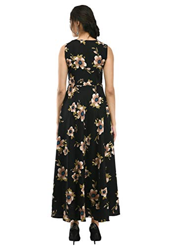 RUDRAKRITI Women's Crepe Printed Maxi Dress (Free Mask) (XX-Large) Black