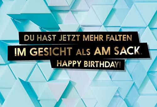"""Lustige Geburtstagskarte\""""Faltiger Sack\"""" für Männer als witzige Postkarte"""