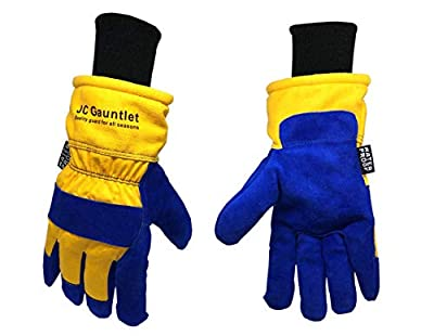RJ07 JC Gauntlet Winter Thermal Insulated Work Gloves, Heavy-duty, Premium Cowhide Split Leather Palm, 3M Thinsulate Lined, Waterproof & Windproof (Blue & Yellow, Size Large)