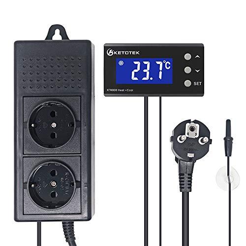 KETOTEK Thermostat Steckdose Digital Temperaturregler Thermostat Heizung 220 V Thermostat LED Aquarium Home Reptilien Sämling Keimung Brauerei Fermentation Heizung Kühlung (220V)