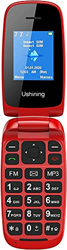 Ushining Unlocked Flip Mobile Phone Big Button Easy to Use,SIM Free Pay as You Go Phones,Classical & Durable (Red)