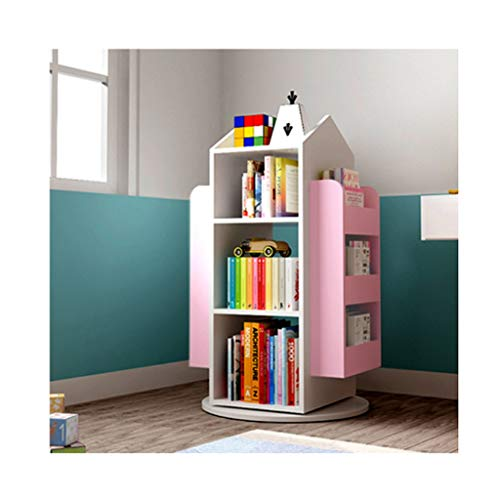 Bookcases 3-Tier 360° Rotating Children's Bookshelf Solid Wood Books Rack Floor Simple Child Book Shelf For Home Bookcases Furniture Bookshelf (Color : White+pink)