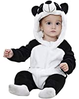 Baby Animal Hooded Romper Flannel Jumpsuit Unisex Infant Pajamas Outfits(13-18 Months, Panda)