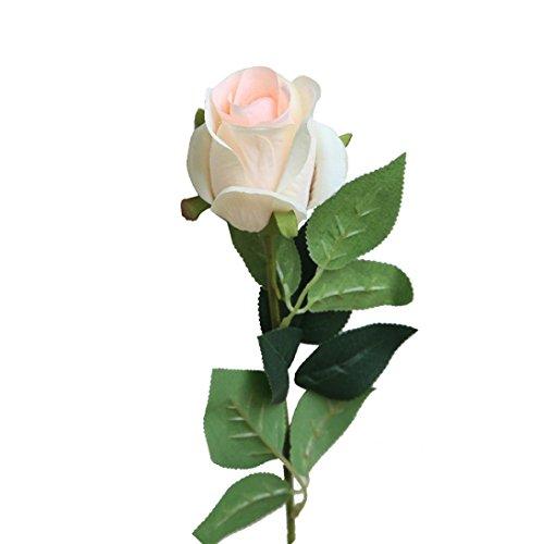 Coloré(TM) Fleurs artificielles Artificielle Faux Rose Fleur Bouquet De Mariée Fête De Mariage Long Roses Home Decor (Beige)