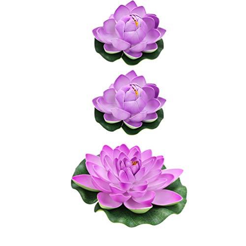VILLCASE 6 Stück Wasser Schwimmende Lotusblumen Kunststoff Realistische Seerose Outdoor Dekoration Ornament für Garten Koi Fischteich Aquarium Pool Hochzeitsgröße M L (Lila)