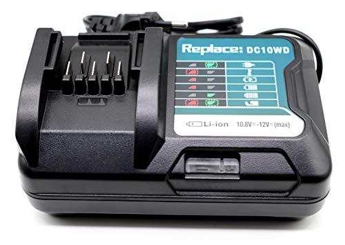 FengWings® Cargador 12V DC10WD 197371-5 Reemplazo del cargador Compatible con cargador Makita 12V BL1015 BL1016 BL1021B 197396-9 BL1041B 197406-2 Batería