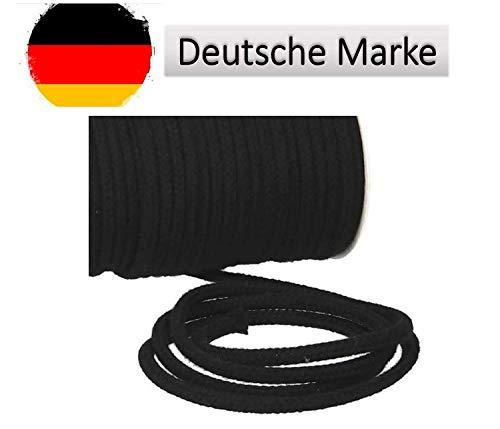 Turnbeutelliebe® Kordel 100% Baumwolle 8mm breit, dick - für Turnbeutel, Taschen & Hosen - zum nähen - viele Farben und Längen - geflochten - Schnur - Seil - Bastelschnur - Band (schwarz, 10)