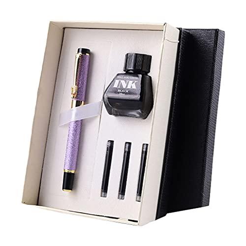 DONTHINKSO Juego de pluma estilográfica de metal premium con 3 cartuchos de tinta de repuesto para botellas de tinta recargables, regalo clásico de negocios, color morado