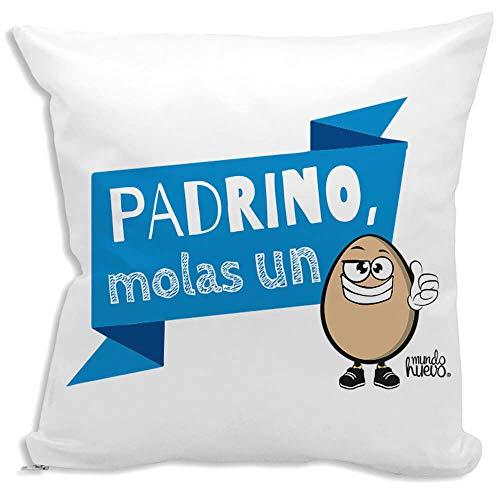 Cojin Decorativo, Original y Personalizado Padrinos Incluye Relleno. Padrino molas un Huevo. 42,5 X 42,5 cm. Cojines con Agradable Tacto de Algodon.