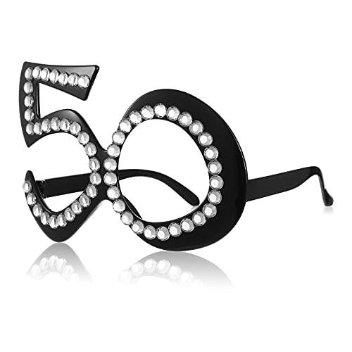 Gafas de Cumpleaños 50 Gafas Novedosas de Cumpleaños 50 Marco de Cristal Numérico Gafas de Sol Divertidas de Disfraz Gafas de Fiesta de Aniversario 50 para Decoraciones de Cumpleaños 50