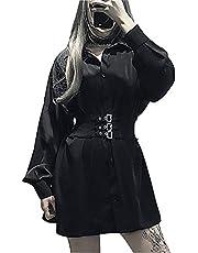 (Lady Oliver) ワンピース レディース シャツワンピース ゴスロリ 黒 ブラック ベルト ゴム 長袖 v系