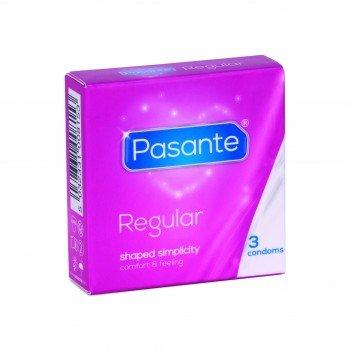 Pasante Kondome (36er Packung, Pasante Regular) medium normale Größe 53 befeuchtet spermizid frei Gleitmittel Standardgröße Gel Länge 190 mm feucht Classic Natur Präservative