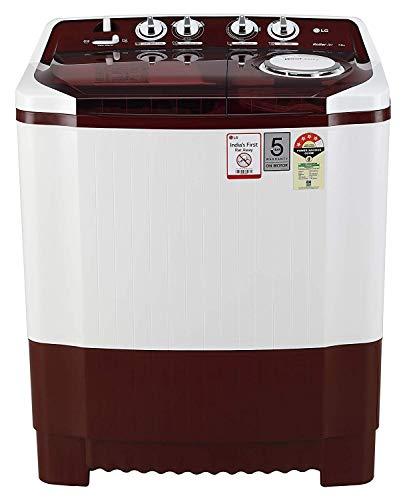 LG 7 kg 4 Star Semi-Automatic Top Loading Washing Machine (P7015SRAY, Burgundy, Collar Scrubber)