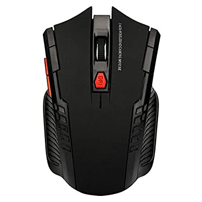 2.4GHz Wireless Office Optical Mouse Game Wireless Mice with USB Receiver Mause for PC Gaming Laptops (Black)