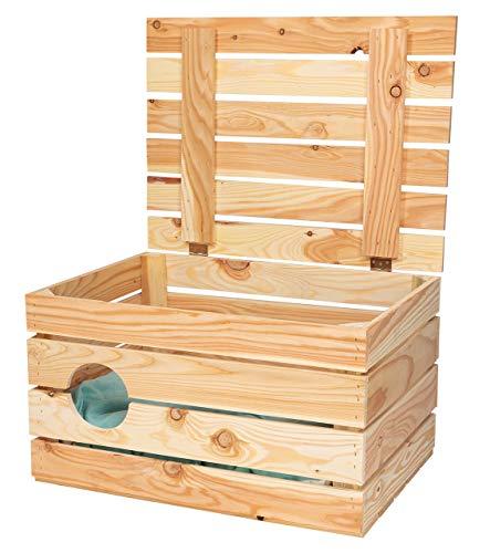 Obstkisten-online 1x unbehandelte HOLZKISTE mit Deckel und rundem Eingang + Polster - ungestörter Katzen Schlafplatz - 50x40x30 cm - NEU - Katzenhöhle