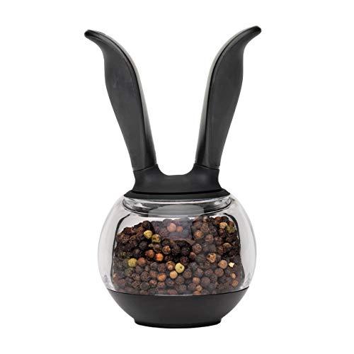 Chef'n Pfeffermühle PepperBall, Gewürzmühle, Pfefferstreuer, Keramik-Präzisionsmahlwerk, Kunststoff-Mühle (Farbe: Schwarz/Transparent), Menge: 1 Stück