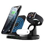 COSCANA Cargador Inalámbrico 15W, 3 En 1 Estación De Carga Rápida Qi para iPhone 12/11 / X/XS/XR / 8, Soporte De Carga para Airpods Apple Watch