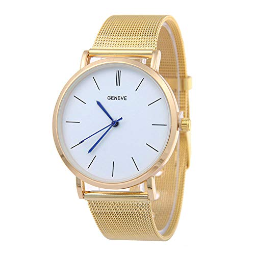 Reloj para Mujer Pulsera de Regalo Reloj de Malla Dorada Reloj Grid Scale Geneva-Oro con harina Blanca