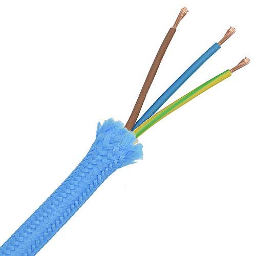 3m Stoffkabel Baby Blau 3G 0,75qmm Textilkabel Lampenkabel Leuchtenkabel Kabel Stromkabel hellblau umsponnen