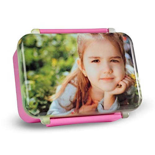 Isonio Brotdose mit eigenem Foto und Text Bedruckt, hochwertige Ausführung, sicherer Verschluss, auslaufsicher (Rosa)