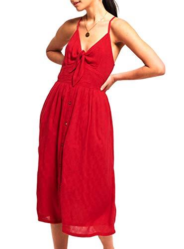 Superdry Vestido Jayde Midi Rojo Mujer