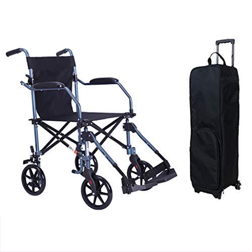 RUIVE Leicht klappbares Aluminium für Transit-Rollstuhl mit Bremse, höhenverstellbarer Rollstuhl für Behinderte und ältere Menschen, Transit-Reisestuhl