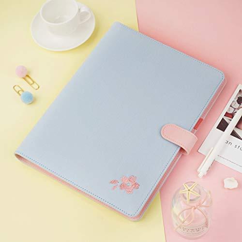 ZANZAN Cuadernos de Notas B5 de Hojas Sueltas portátil, Tela Bordada, Cubierto por Cuero/imitación de Lino/algodón 220 mm * 285 * 8.6 11 En, Cuadrícula y gobernados Papel blocs de Notas
