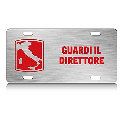 Press Fans - GUARDI IL DIRETTORE Italy Map S.Steel Car SUV Truck License Plate Decorative Tag Chrome-D#y55