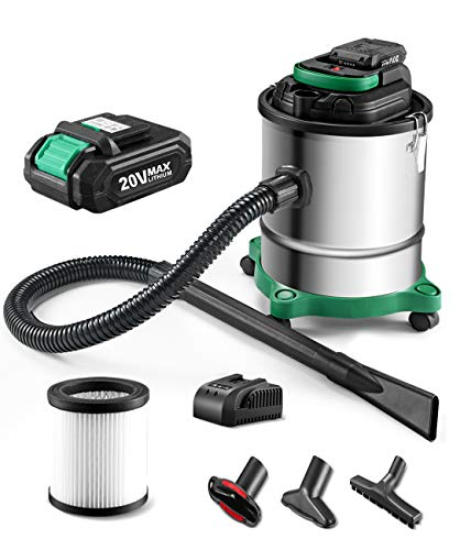 Cordless Ash Vacuum with 3.5 Gallon Portable Vacuum with Metal Lined Hose, Metal Nozzle, and Cartridge Filter for Fireplaces, Wood Stoves, Ash Collectors, and Pellet Stoves