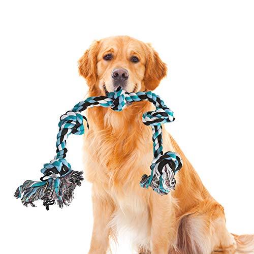 Hundeseil Spielzeug, Hundespielzeug Seil Hund Spieltau mit Knoten für Große Hunde, Kauspielzeug Hund Unzerstörbar, Interaktives Hunde Spielseil Intelligenzspielzeug für Zahnreinigung, Baumwolle, 91cm