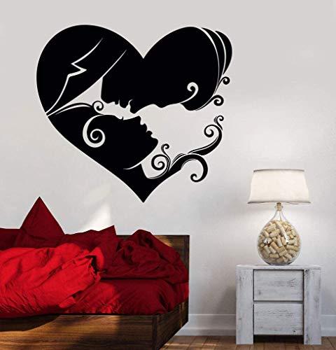 Resumen Pareja Amor Corazón Pared Calcomanía Vinilo Amoroso Pareja Dormitorio Matrimonio Habitación Pared Pegatina Extraíble Arte Decoración Mural 56X61 Cm
