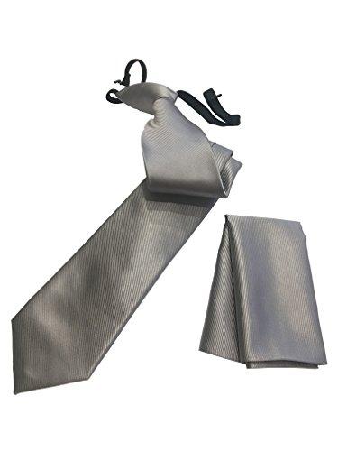 Pietro Baldini gebundene Krawatte in diversen Farben mit Einstecktuch - elegantes Rippen Finish - krawatte fertig gebunden (Grau)