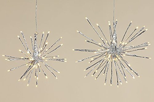 Tamia-Home LED-Stern Nicky Beleuchtung Pendelleuchter Weihnachten Licht Silber Innen Außen D35cm
