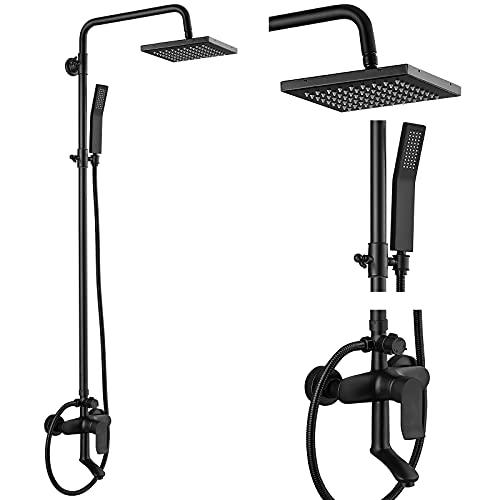 Matte Black Exposed Shower System Triple Function Bathroom Shower...