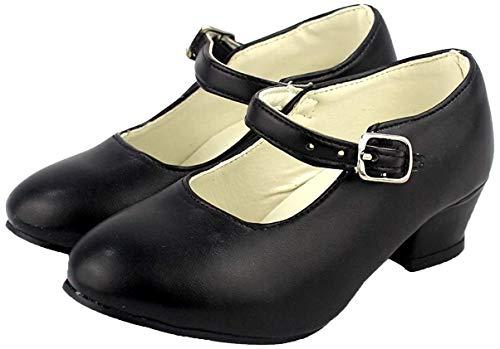 Zapato Flamenco, Calzado de Danza Baile Sevillanas para Niña Mujer, Rojo Lunares Negros (25, Negro)