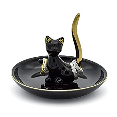 Exembe Happy Cat Posture Trinket Tray Decorative Ring Holder Jewelry Storage Dish Black/Golden Tail