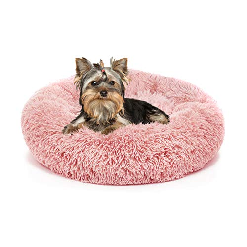 Small Dog Bed Pink Washable Anxiety Doggie Beds for Small Size Dogs Faux Fur Pet Bed for Pug Puppies Kitten Cats 19 Inches Girl Princess