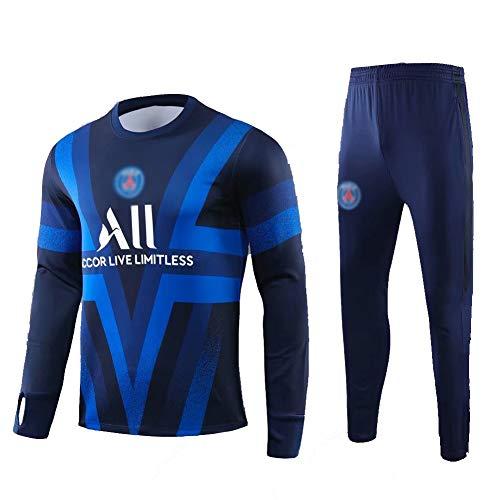 ZHWEI Football Club Long-Sleeved Football Training Suit Men's Jersey Suit Sportswear (Tops + Pants)- AS1046 (Size : M)