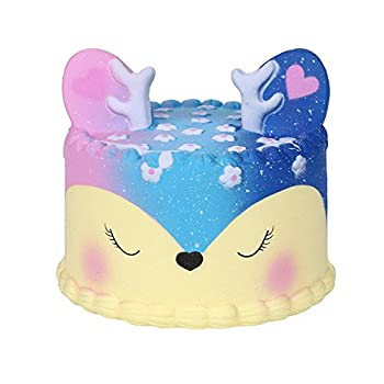 Squishies Slow Rising Squeeze Toys Jumbo Soft Cute Deer Cake Simulation Cream Scented Squishy Toy for Kids and Adults Lovely Toy Stress Relief Toy Phone Straps Key Chains  Galaxy