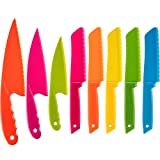 Jovitec 8 Pieces Kid Plastic Kitchen Knife Set, Children's Safe Cooking Chef Nylon Knives for Fruit,...