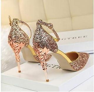 b2ab65c9fbd9 YUANGGX Mode Talons Hauts Cristal Princesse Chaussures Or Paillettes Hauts  Talons Beaux Talons De Mariage Argent