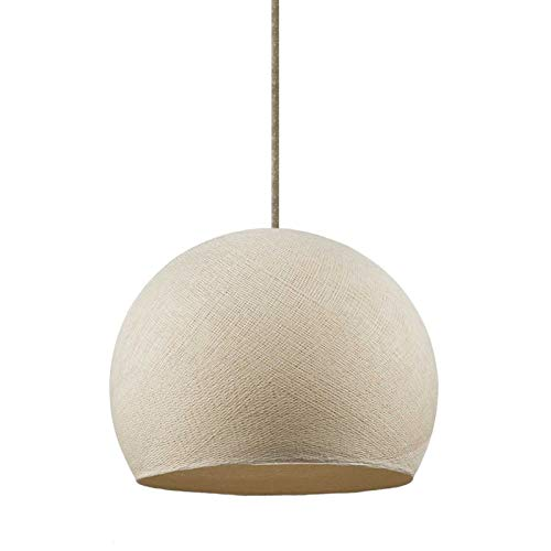 Lámpara Colgante con Cable Textil, Pantalla Dome XS en Hilo de poliéster y Acabados metálicos - Sin Bombilla, Poliéster Beige
