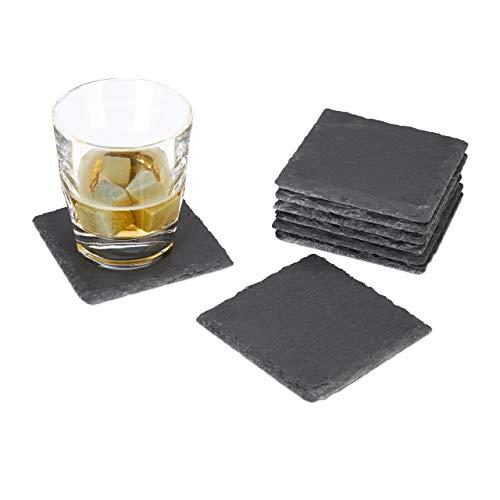 Relaxdays, grau Getränkeuntersetzer Schiefer 8er Set, quadratisch 10x10 cm, Pflegeleichte Untersetzer, für Gläser, Standard