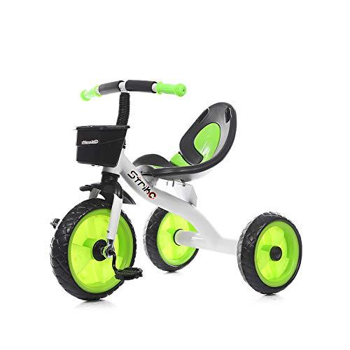 Chipolino Kinder Dreirad Strike ab 3 Jahre max. Traglast 25 kg komfortabler Sitz, Farbe:grün