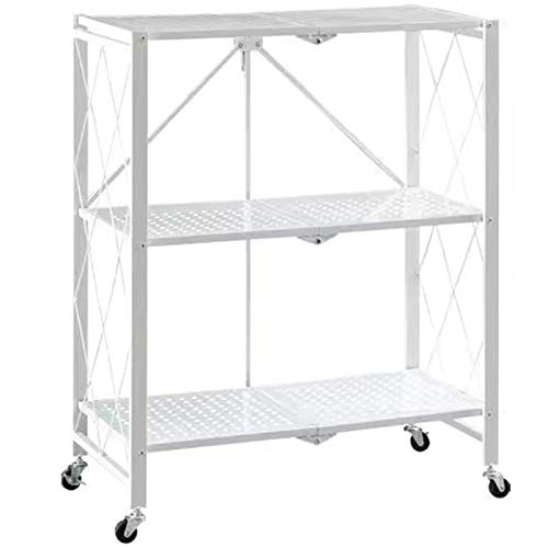 aasdf Rack Installation-Free Folding Kitchen Supplies Rack Floor-Standing Multi-Layer Oven Pot Rack Microwave Storage Storage Rack (Color : White, Size : Size1)