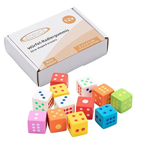 ECENCE 12x gomme en forme de dé gommes fête d'anniversaire pour les enfants petit cadeau souvenir enfant fournitures scolaires
