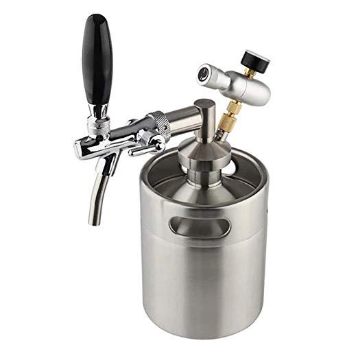 SIRUL Mini Barril de Cerveza de Acero Inoxidable, Grifo Growler de Acero Inoxidable de 5 l, con Boquilla de Grifo Desmontable y regulador de CO2 Que se Mantiene Fresco bajo presión