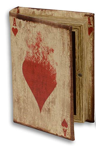 Buchbox Skat - Poker Antiklook weiches Lederimitat Buch-Attrappe 13,5x9x3cm mit Kartenspiel
