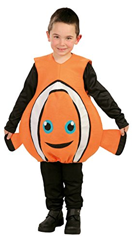 Guirca - Costume Pesce Pagliaccio Nemo Bambino - Colore - Arancione, Taglia - S 5-6 Anni 110-115 Cm